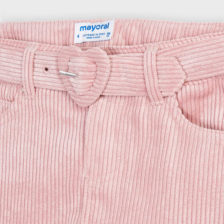 Mayoral Pink Corduroy Skirt with Belt