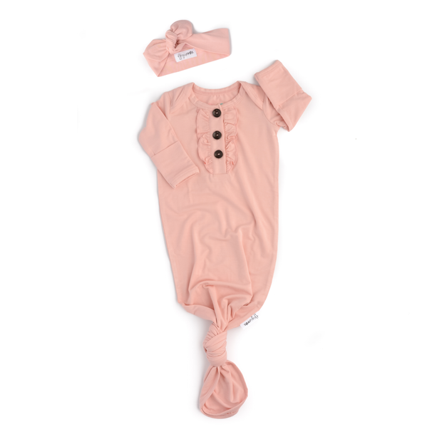Gigi and Max - Light Pink Ruffle Floral knotted newborn gown