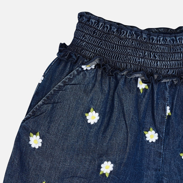 Mayoral Embroidered Denim Shorts