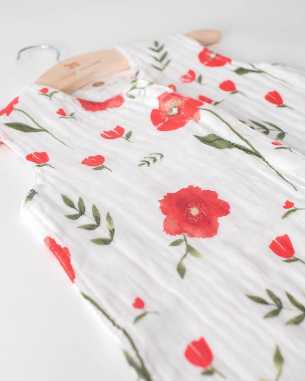 Little Unicorn Cotton Muslin Sleep Bag Small  - Summer Poppy
