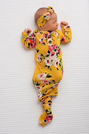 Gigi and Max - Bailey Ruffle Floral Handmade knotted newborn gown