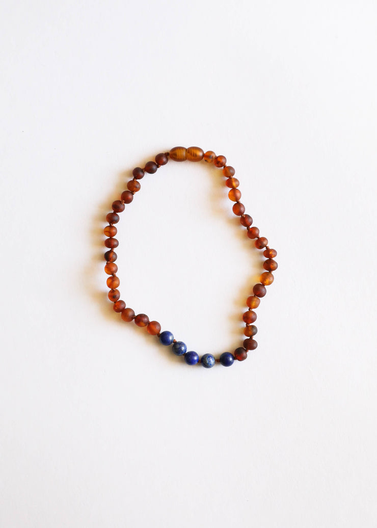 Raw Cognac Amber + Lapis || Necklace