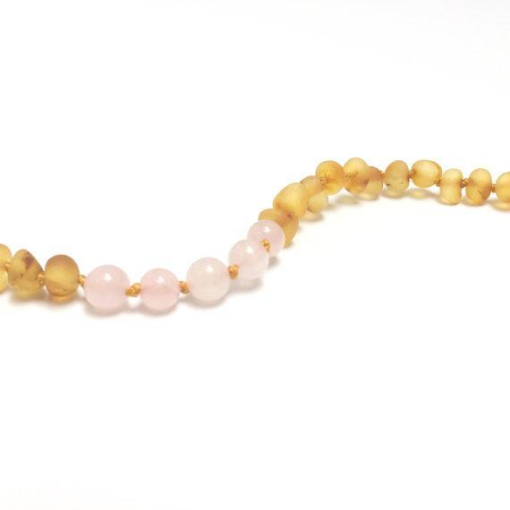 CanyonLeaf Raw Honey Amber + Rose Quartz Anklet or Bracelet