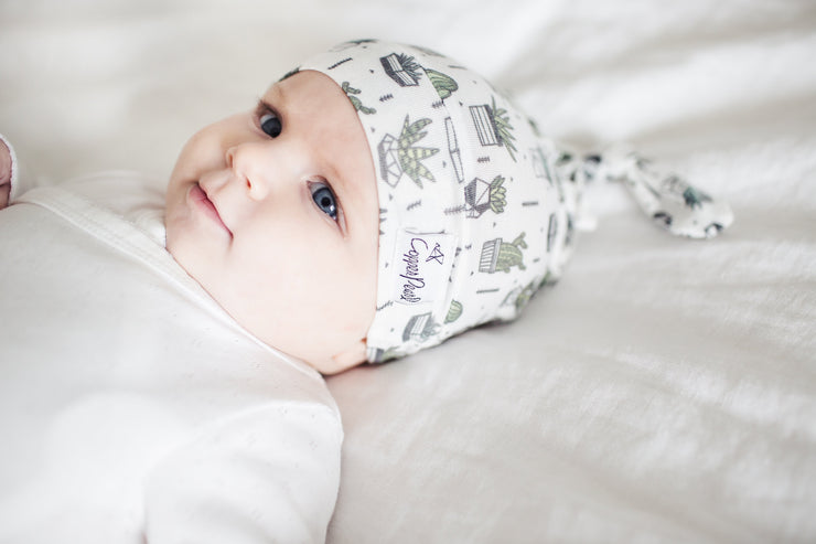 Copper Pearl Newborn Top Knot Hat - Shiloh