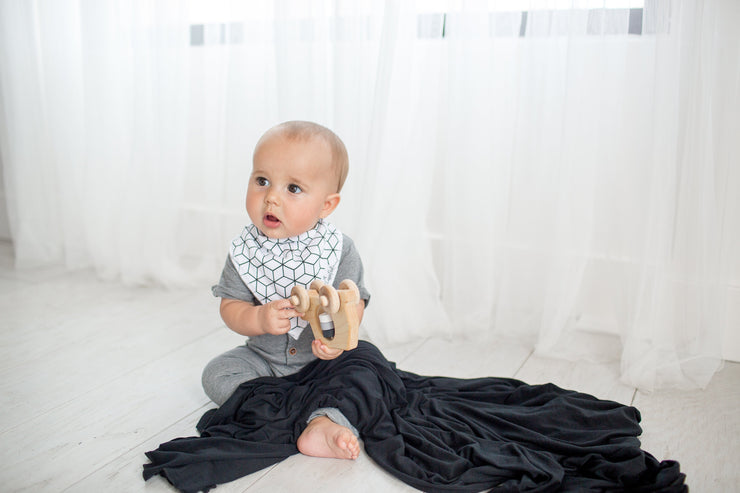 Copper Pearl Knit Swaddle Blanket - Midnight