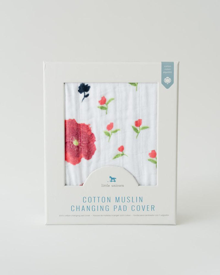 Little Unicorn Cotton Changing Pad Cover - Summer Poppy