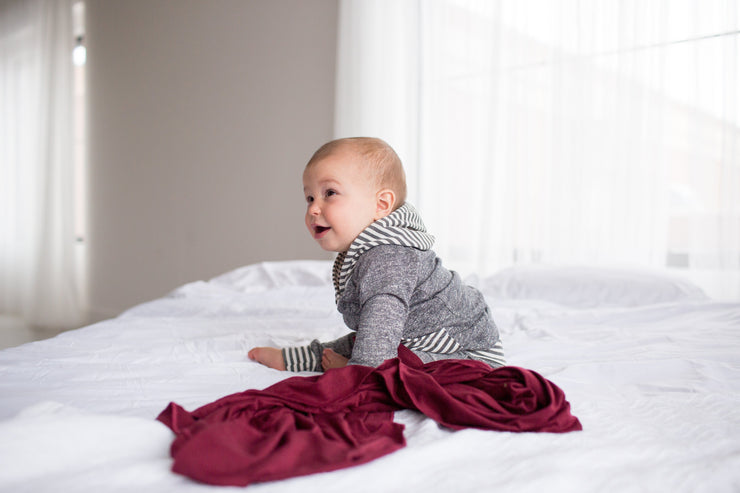 Copper Pearl Knit Swaddle Blanket - Ruby