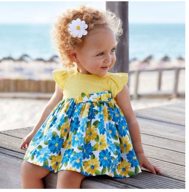 Mayoral Spring Summer Baby Girls Lemon Blue Floral Dress