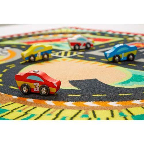 Melissa & Doug Round the Speedway Race Track Rug & Car Set
