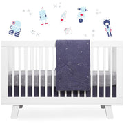 Babyletto Galaxy Galactic Grey Stars Fitted Crib Sheet