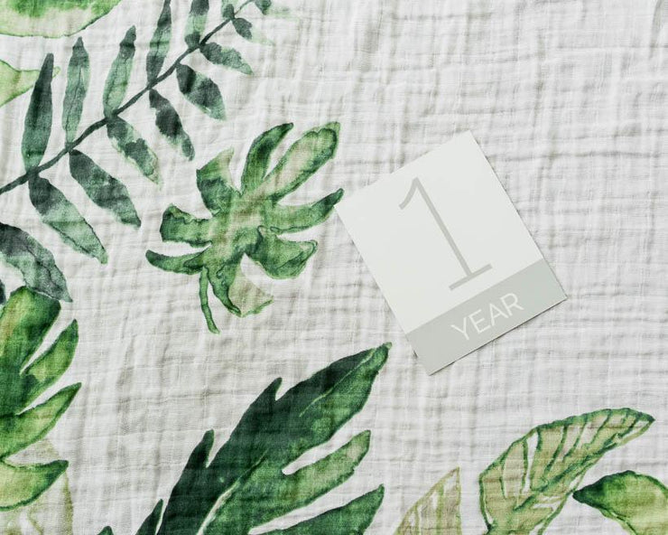 Little Unicorn Photo Blanket | Tropical Leaf