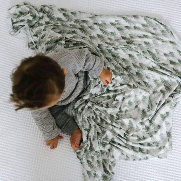 Copper Pearl Knit Swaddle Blanket | Evergreen