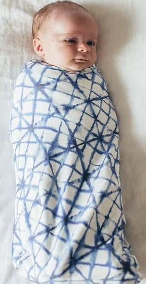 Copper Pearl Knit Swaddle Blanket - Indigo