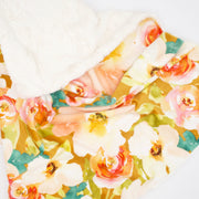 Sugar + Maple Mustard Floral Minky Blanket