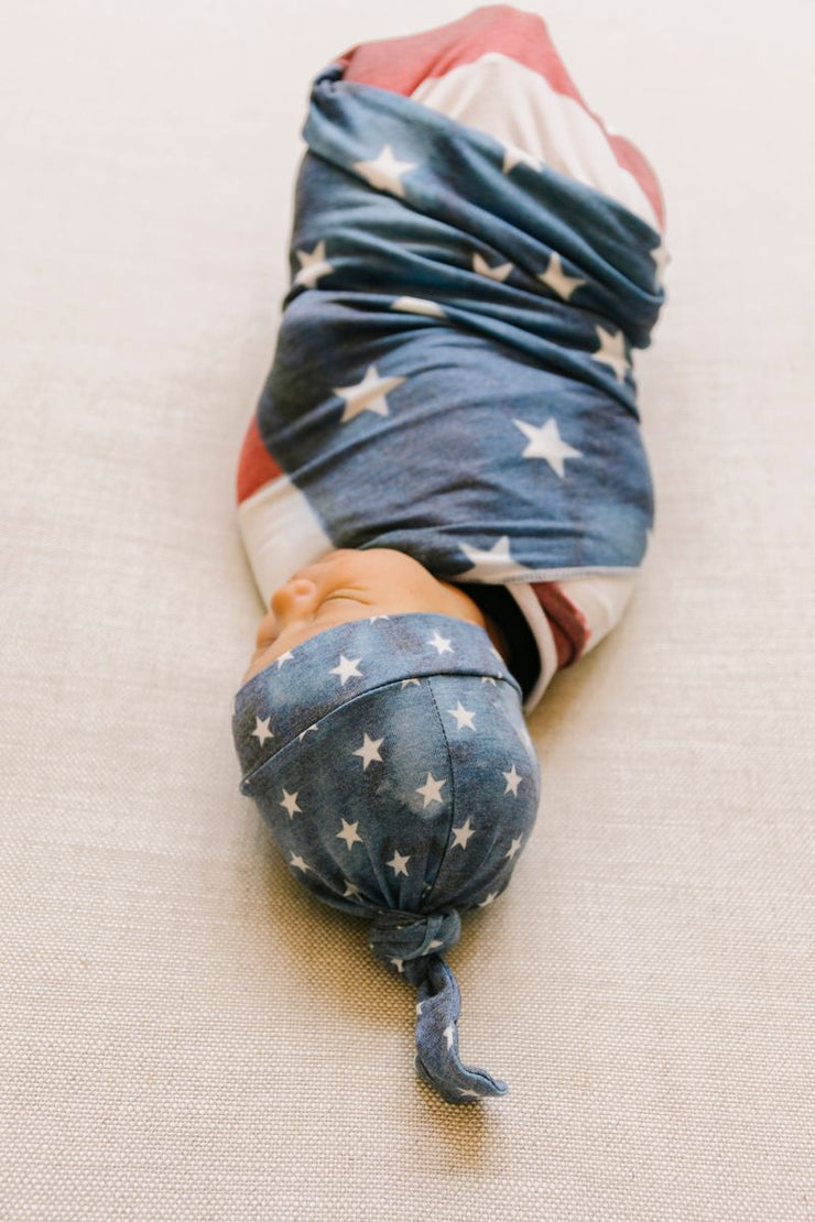Copper Pearl Knit Swaddle Blanket - Patriot