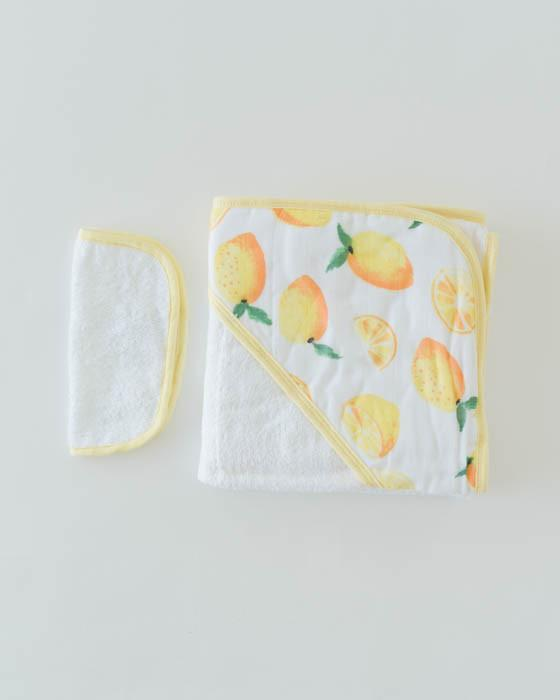 Little Unicorn Hooded Towel & Washcloth Set - Lemon