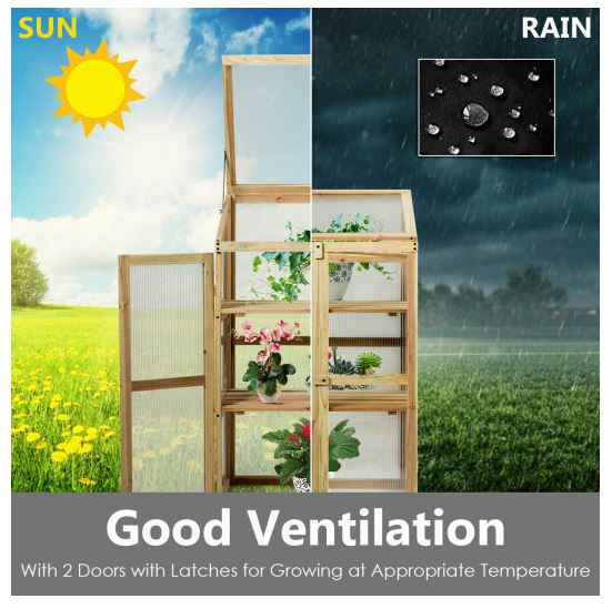 A split screen image showing sun and rain falling on the greenhouse. Small paragraph detailing good ventilation follows