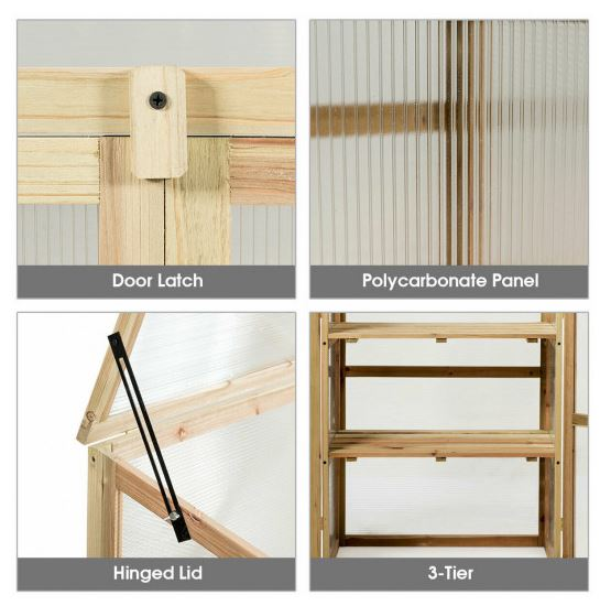 Four images showing close up details of door latch, panels, hinges, and adjustable tier shelves