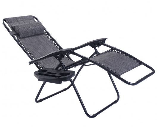 Gray zero gravity chair in reclined position