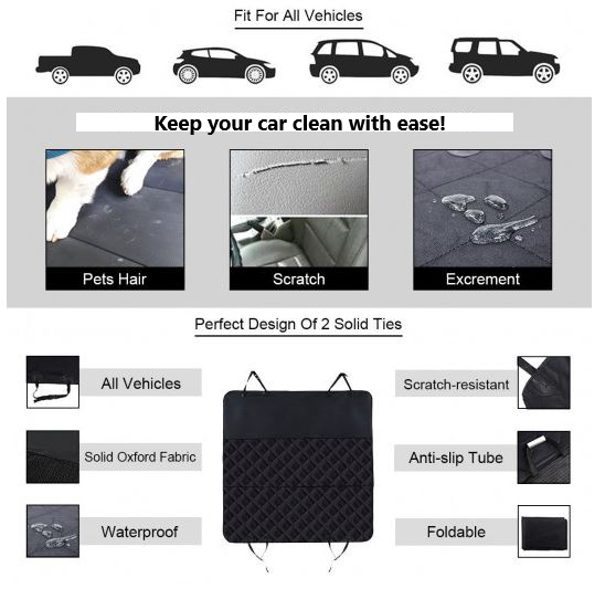 Features and specifications of backseat cover, including vehicles it will fit