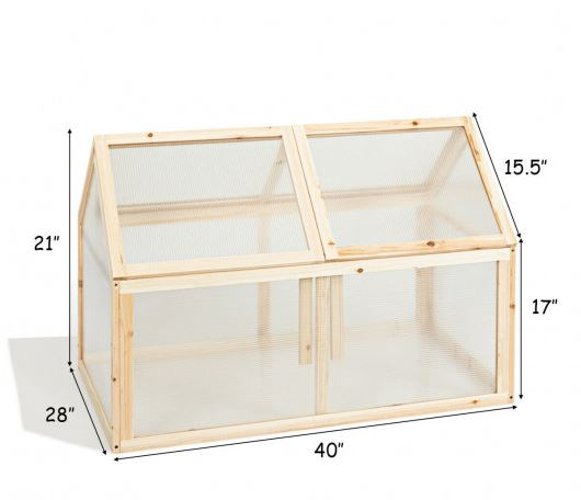 Dimensions of greenhouse with panels closed