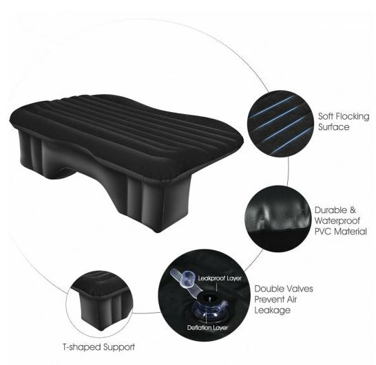 Backseat Air Mattress with Support Showing Design Features
