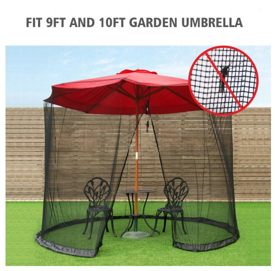 Mosquito net fits both 9 and 10 foot garden umbrellas