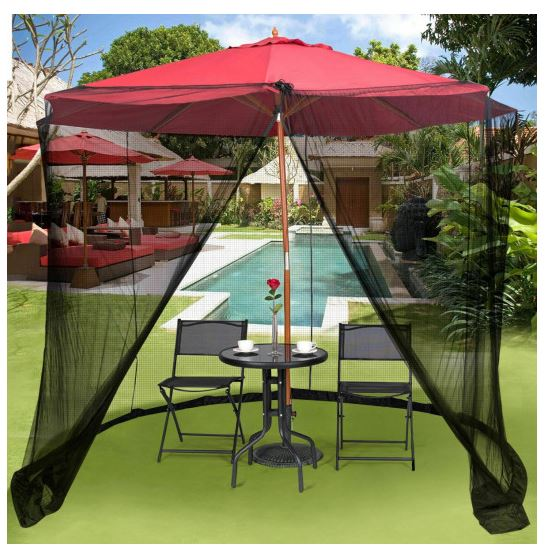 Mosquito net on red umbrella outside, zipper is open to show entrance