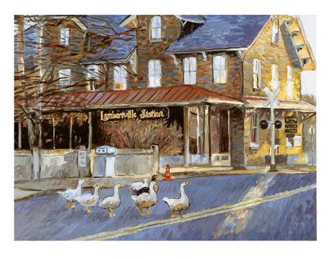 Lambertville Station Geese Giclee Print