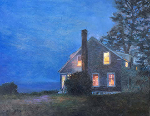 Maine House, Dusk Oil Painting by James McPhillips