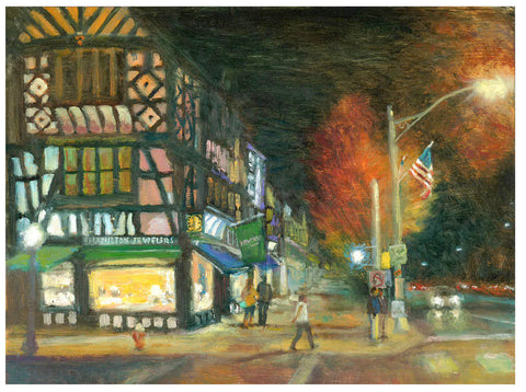 "Signed ""Nassau St. at Night"" giclee print by James McPhillips"