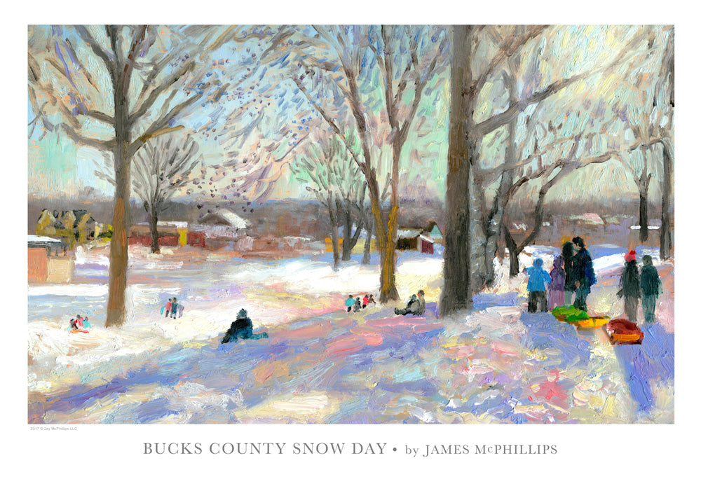 "Signed ""Bucks County Snow Day"" Art Poster"
