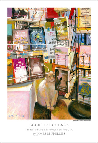 Bookshop Cat No. 1 Poster by James McPhillips
