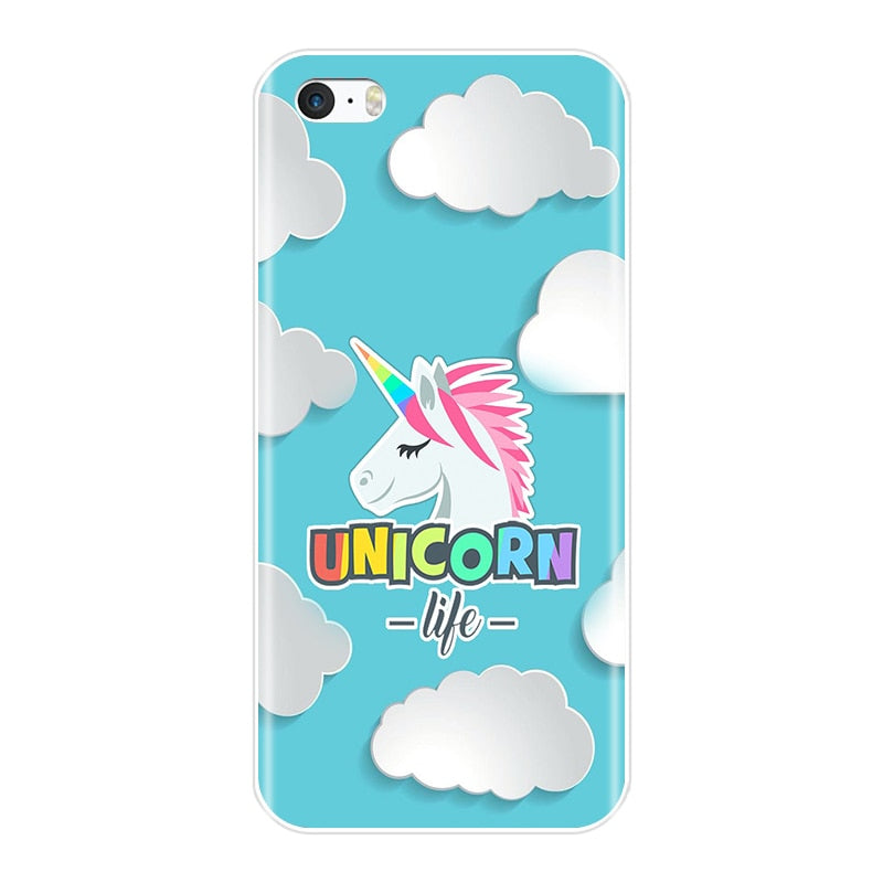 Coque iPhone 5s silicone licorne
