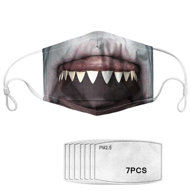Masque anti-projection lavable requin