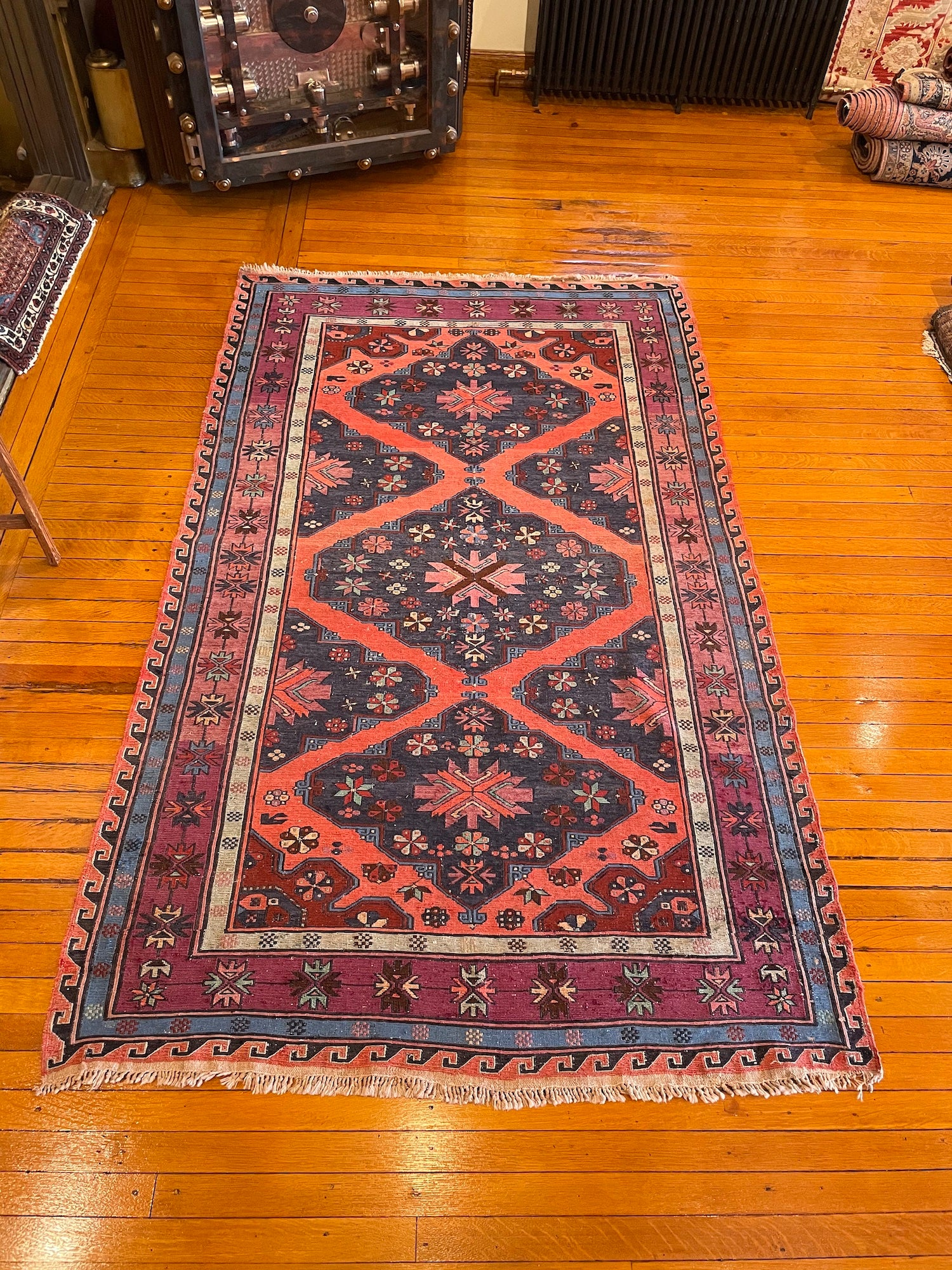 "Antique Caucasian Soumak 4'10"" x 8'0"""