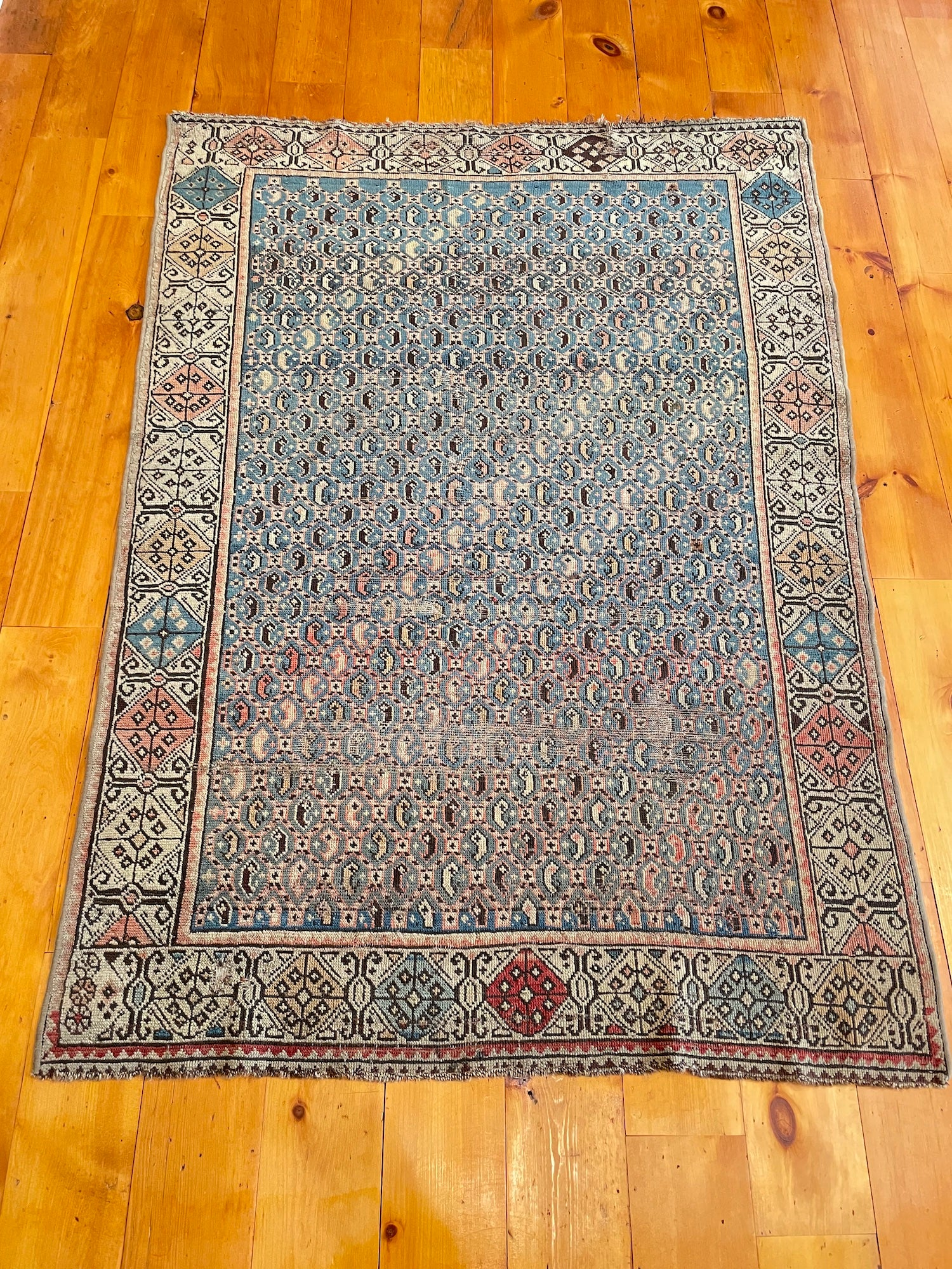 Antique Turkish Small Rug 3'8 x 5'1