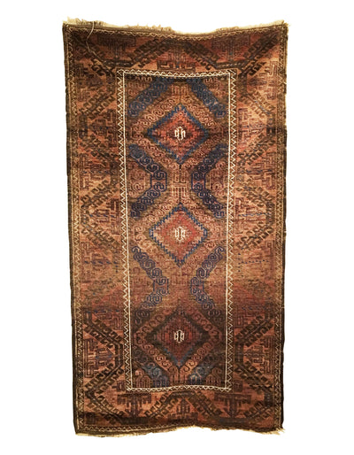 Antique Afghan Baluch Rug 2'11 x 5'4