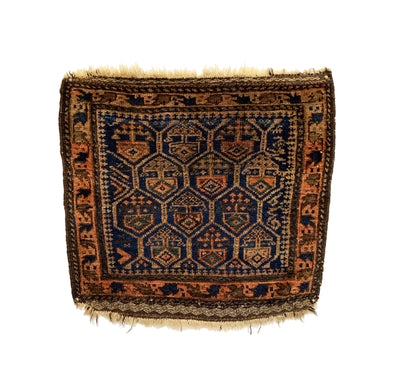Antique Afghan Baluch Bag Square Rug 1'9 x 1'8
