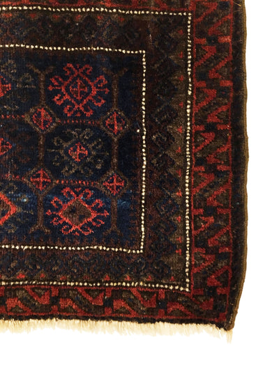 Antique Afghan Baluch Square Rug 1'6 x 2'3