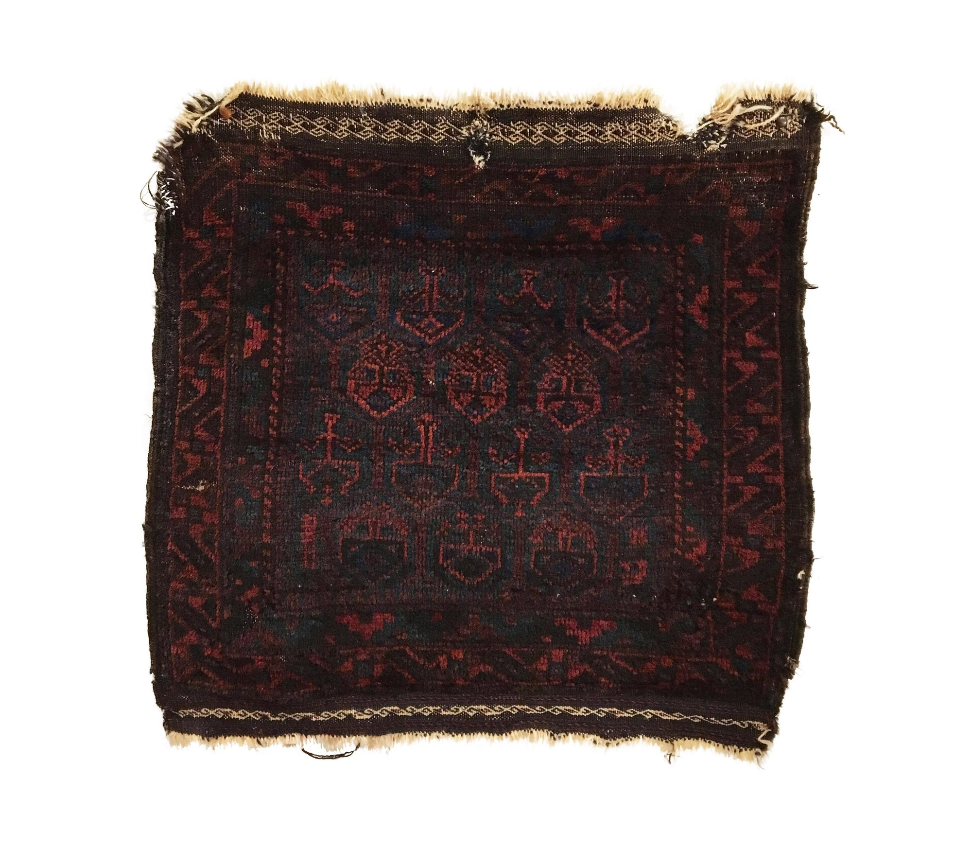 Antique Afghan Baluch Square Rug 2'1 x 2'1
