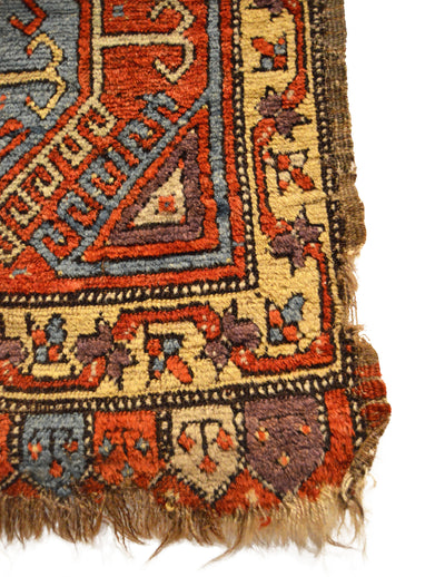 Antique Anatolian Konya Yastik Small Rug 1'11 x 3'3