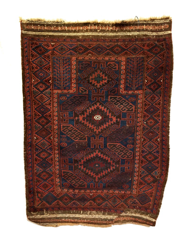 Antique Baluch Tribal Rug 3'3 x 4'9