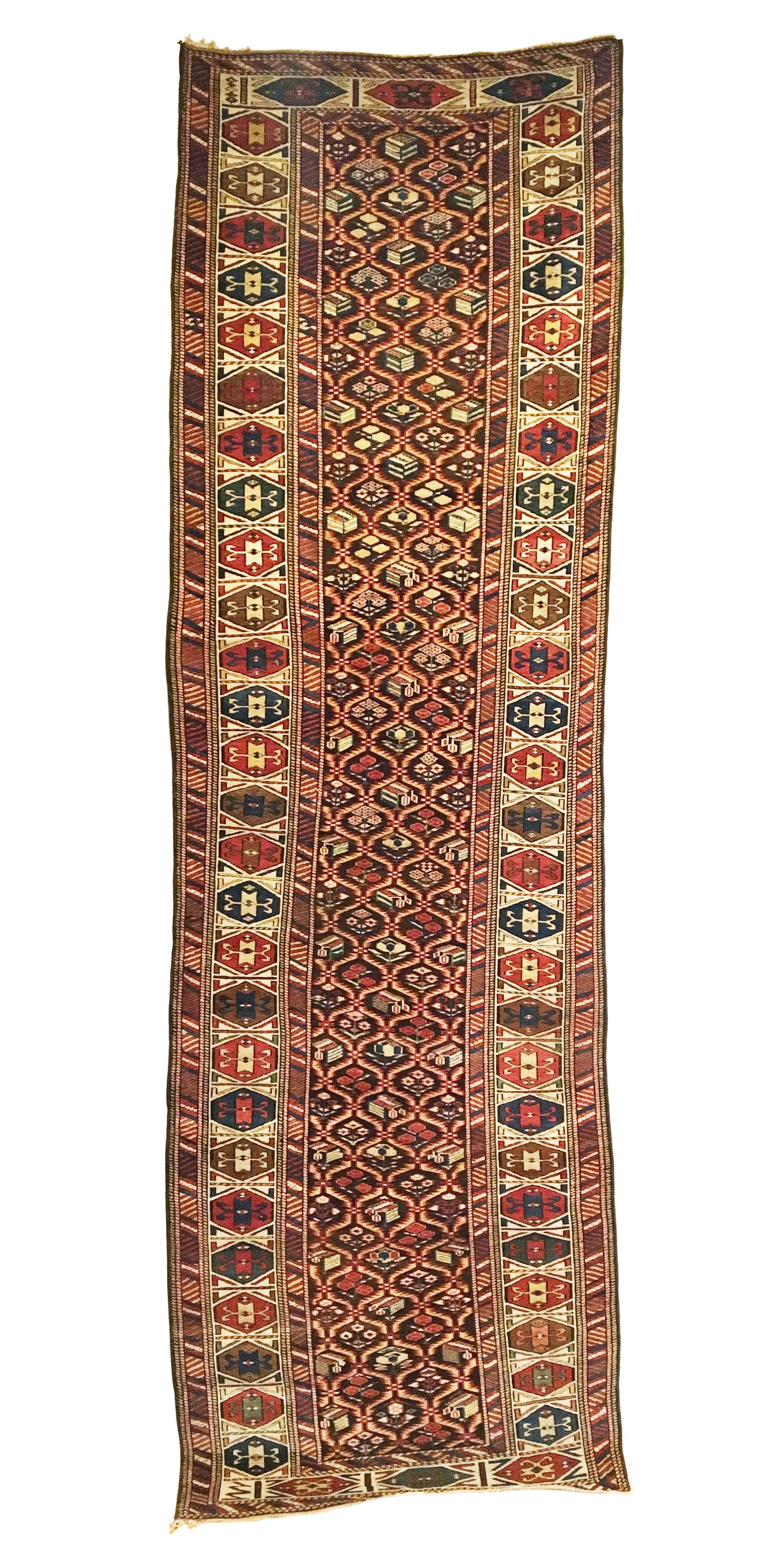 Antique Caucasian Dagestan Runner 3'4 x 10'5