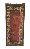 Antique Distressed Caucasian Kazak Long Rug 4'2 x 9'0