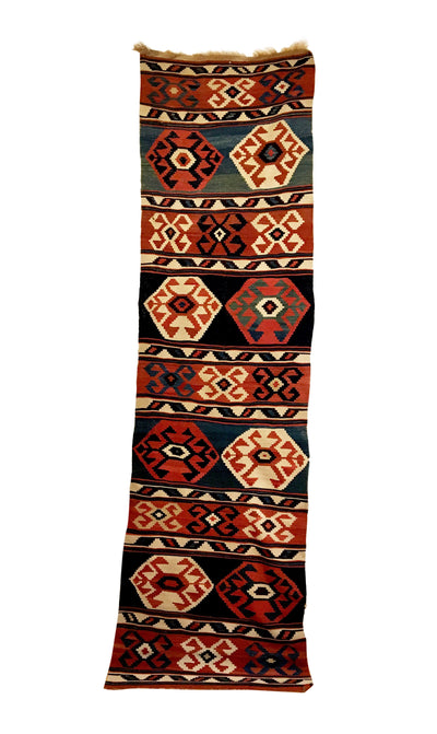 Antique Caucasian Kilim Runner 3'0 x 10'9