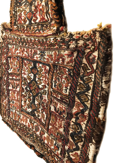 Antique Persian Bakthiari Bag Square Rug 1'8 x 1'9
