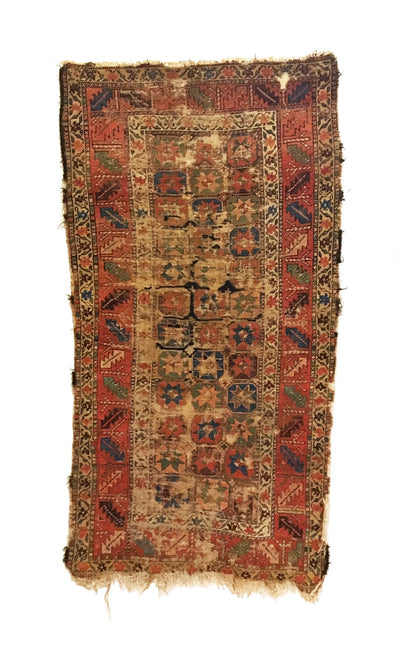Antique Distressed Persian Kurdish Rug 3'6 x 6'9