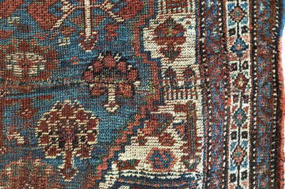 Antique Distressed Persian Qashqai Rug 4'2 x 5'7