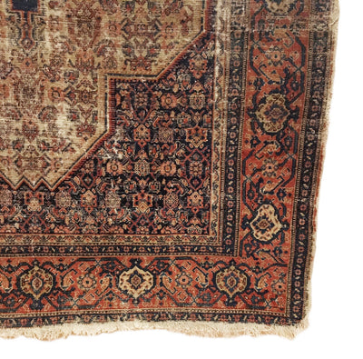 Antique Distressed Persian Senneh Rug 4'1 x 6'2